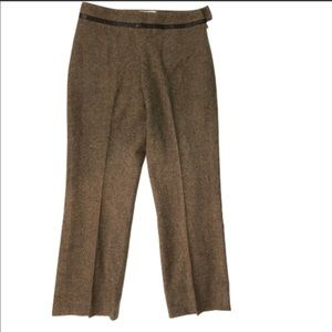 Pendleton Tweed Virgin Wool Pants Leather Trim